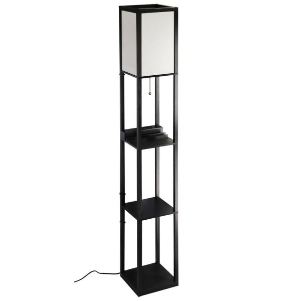 63 in. MDF Black Shelf Floor Lamp with Ivory Plastic Lamp Shade