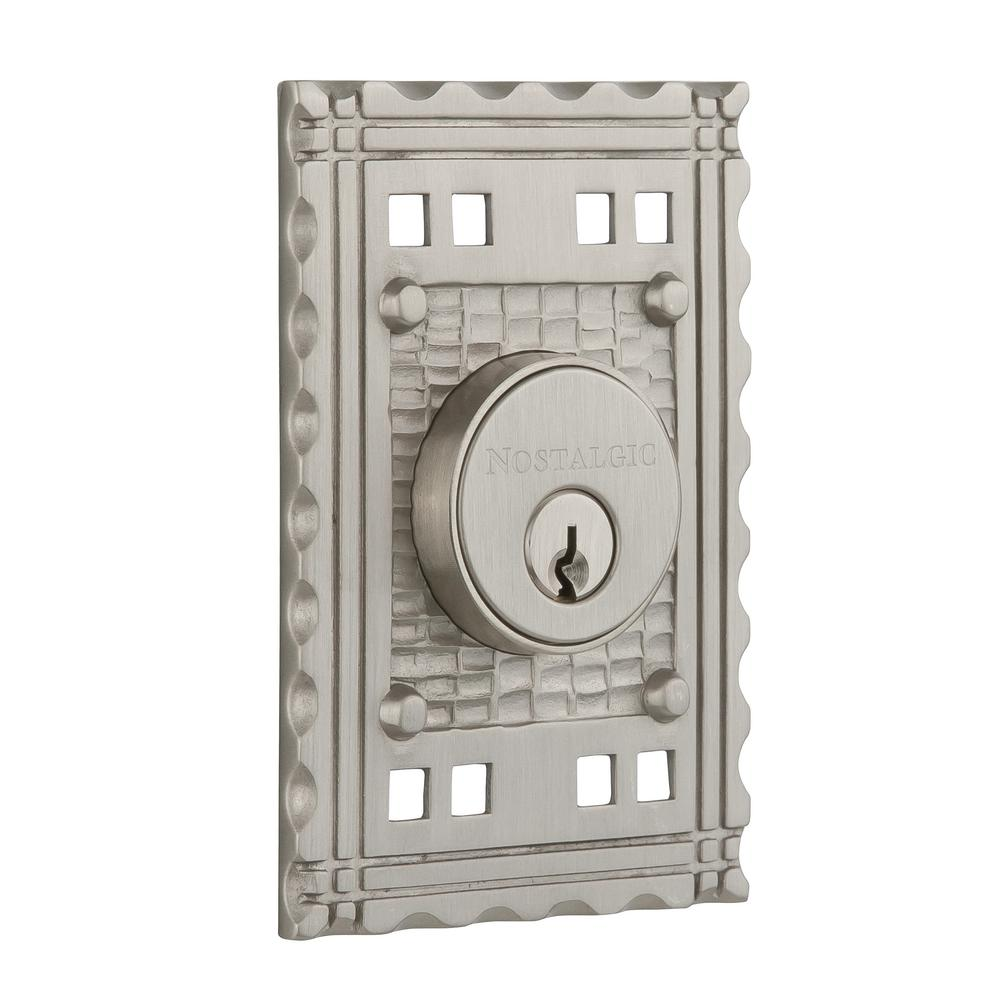 Craftsman Plate 2-3/8 in. Backset Double Cylinder Deadbolt in Satin Nickel