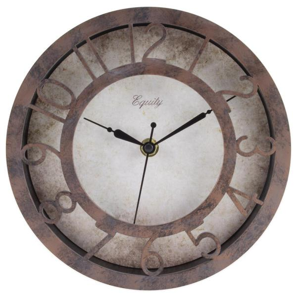 Equity by La Crosse 8 in. Round Patina Analog Wall Clock