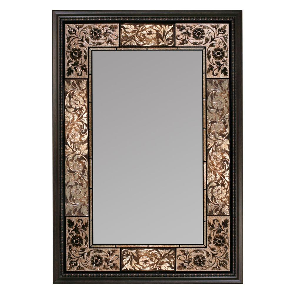 Deco Mirror 26 In X 37 French Tile Rectangle Dark Brown