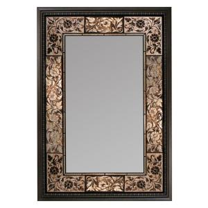 Deco Mirror 26 inch x 37 inch French Tile Rectangle Mirror in Dark Brown by Deco Mirror
