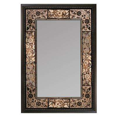 26 in. x 37 in. French Tile Rectangle Mirror in Dark Brown