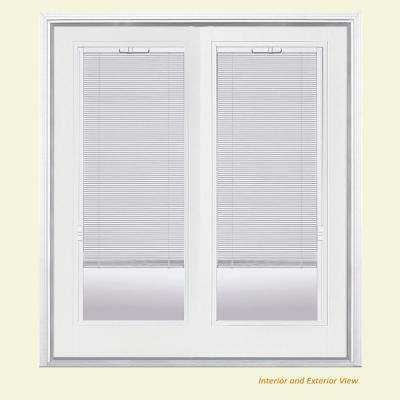 72 in. x 80 in. Primed White Fiberglass Prehung Left-Hand Inswing Mini Blind Patio Door w/ Brickmold, Vinyl Frame