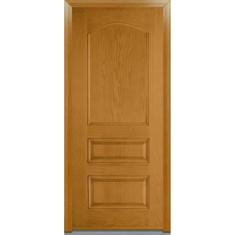 Mmi door 36 in x 80 in severe weather right hand outswing 3 panel archtop classic stained 36 x 80 outswing exterior door
