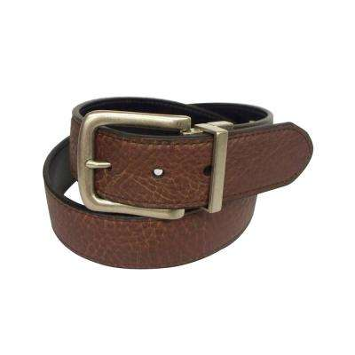 38MM BROWN GENUINE LEATHER FULL GRAIN SHRUNKEN TOP TO BLACK SMOOTH PU SPLIT/CUTSTITCH EDGE/REV TWIST