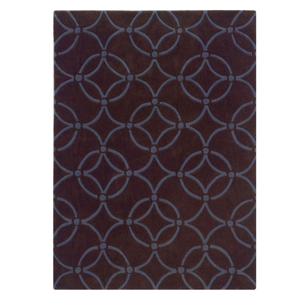 Linon home decor trio collection chocolate and blue 8 ft for International home decor rugs