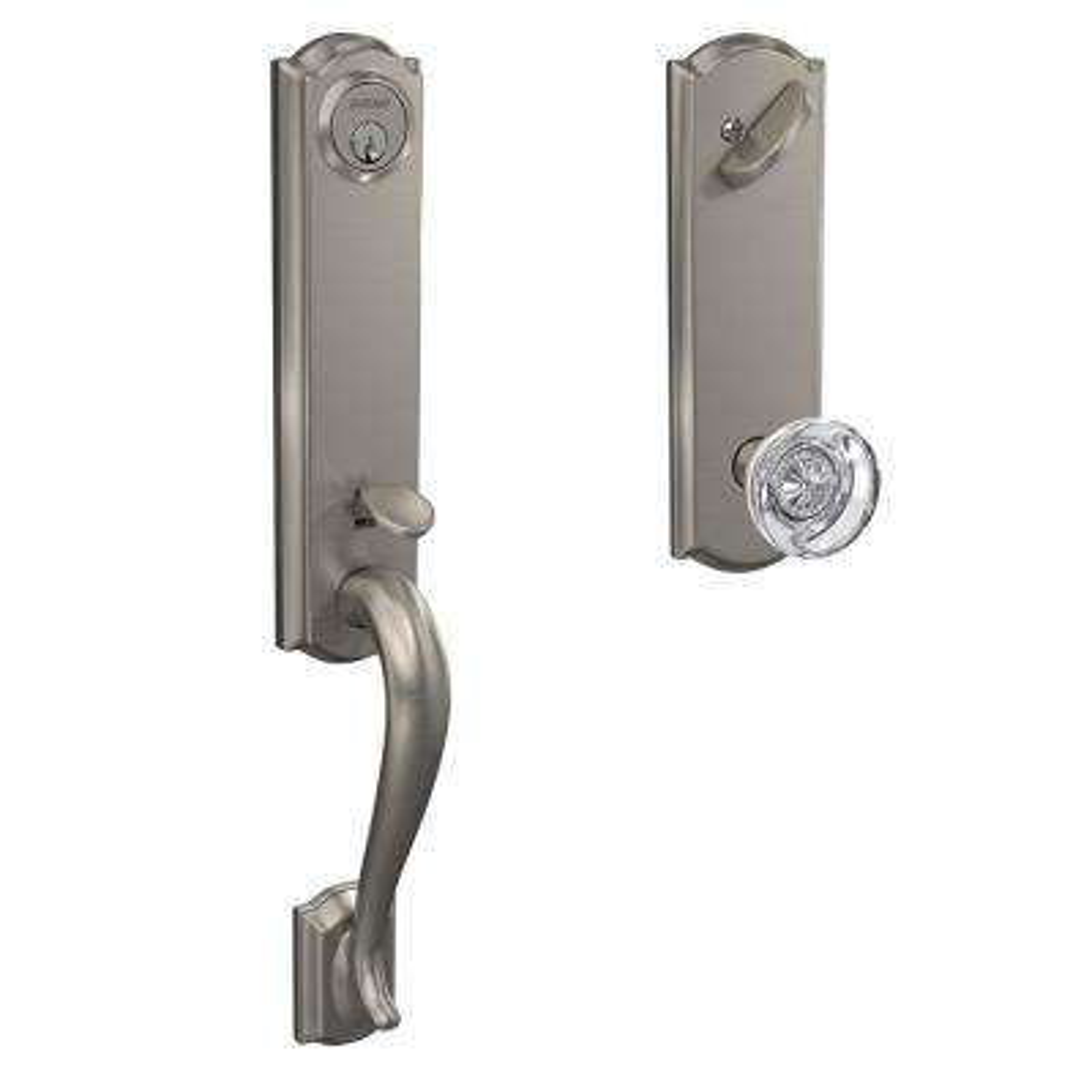Camelot Satin Nickel Single Cylinder Deadbolt with Hobson Glass Knob Door Handleset