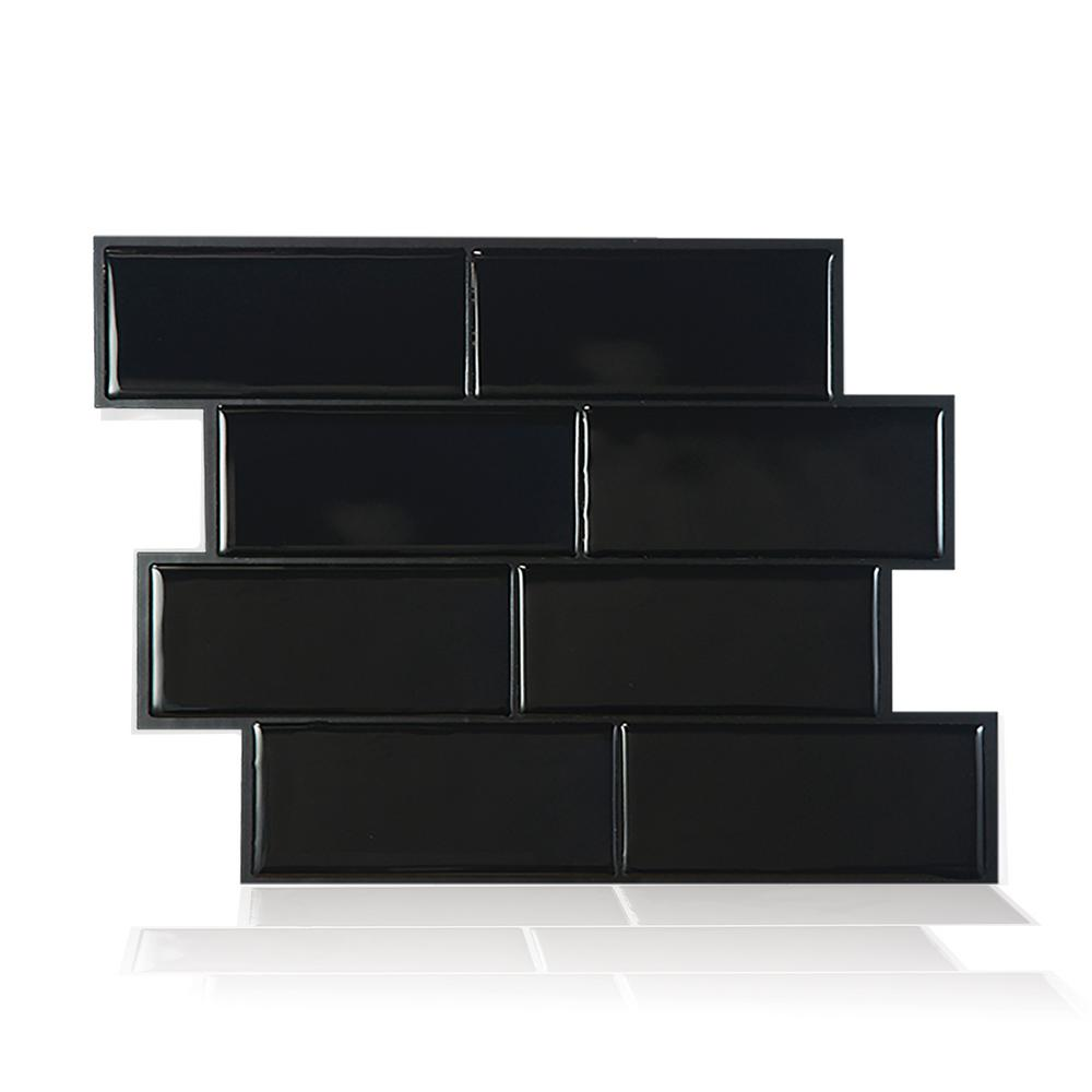 Metro Nero 11.56 in. W x 8.38 in. H Black Peel