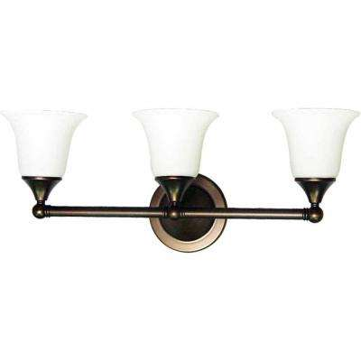 Lenor 3-Light Florence Bronze Incandescent Wall Bath Vanity Light