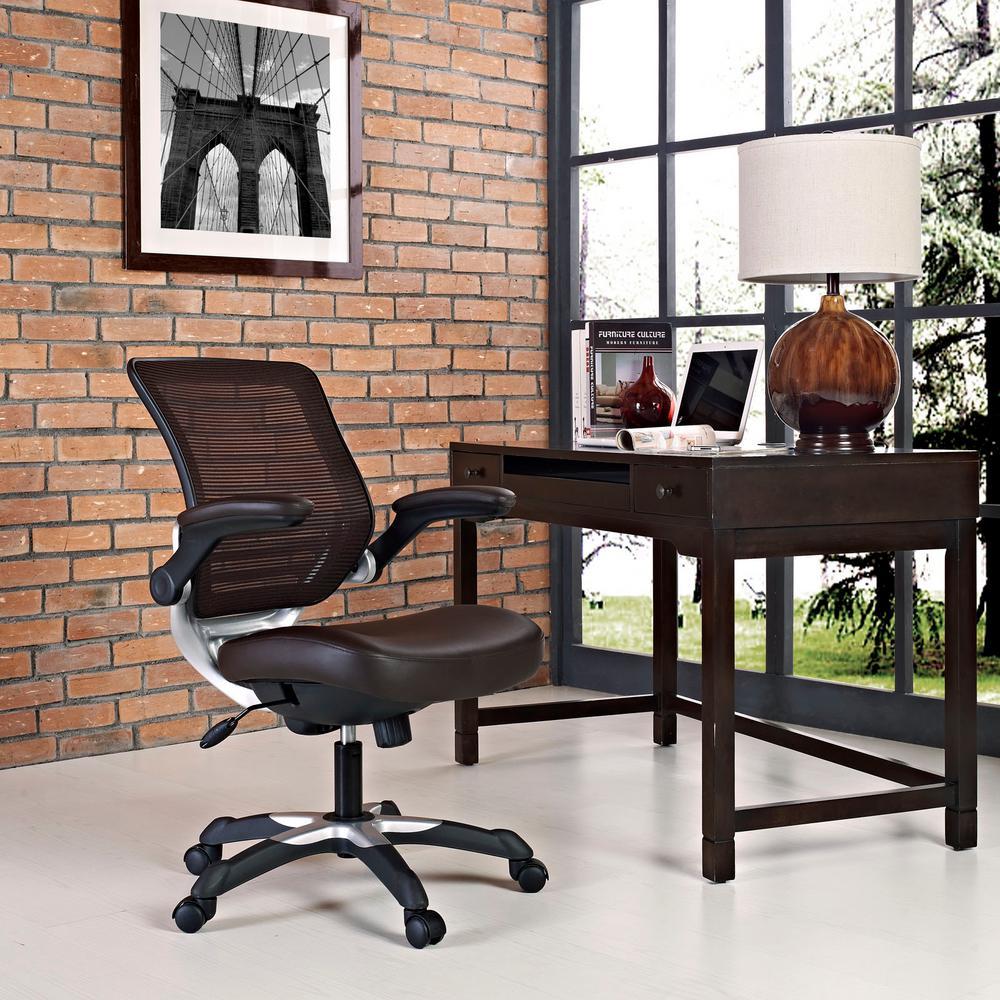 Edge Vinyl Office Chair in Brown