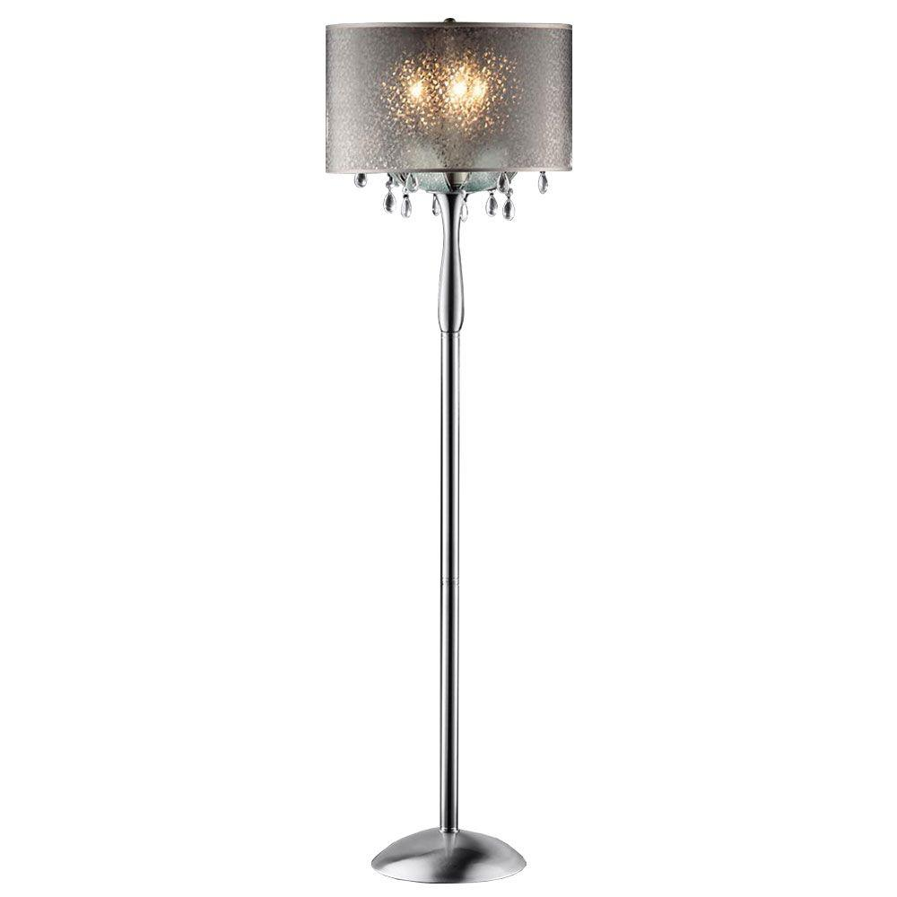OK LIGHTING 61 in. Silver Petal Crystal Floor Lamp