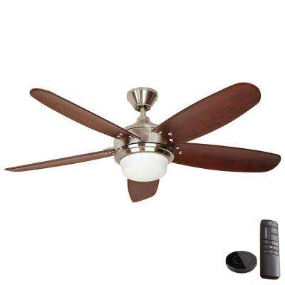 Breezmore 56 in. LED Brushed Nickel Ceiling Fan with Light Works with Google Assistant and Alexa