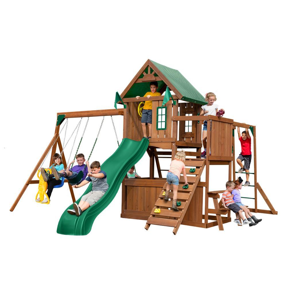 Swing-N-Slide Playsets Knightsbridge Plus Wood Complete Playset with Monkey Bars