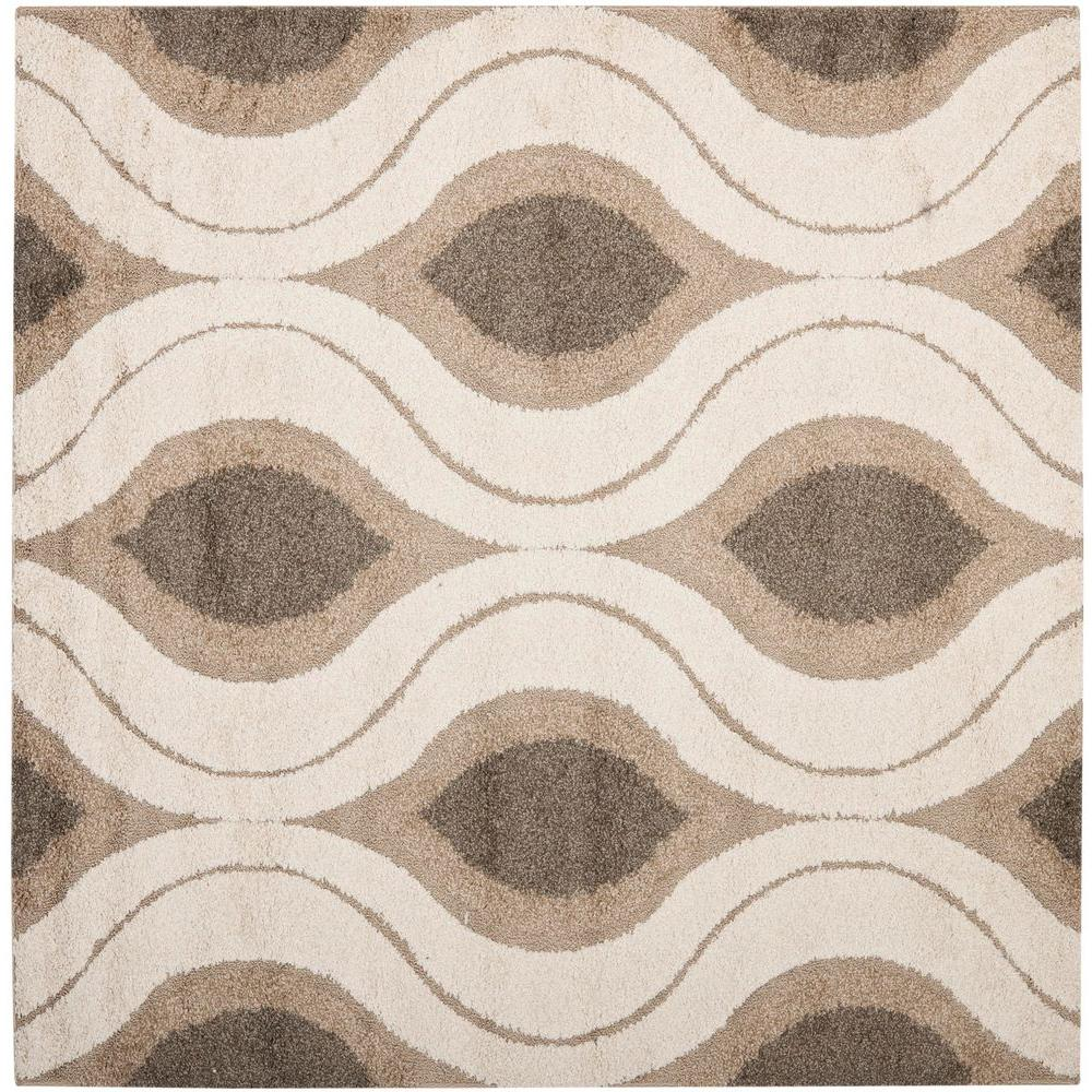 Florida Shag Cream/Smoke 4 ft. x 4 ft. Square Area Rug