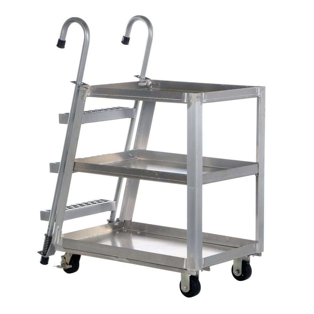 Vestil 22 in. x 36 in. 1,000 lb. 3 Shelf Aluminum Stock P...