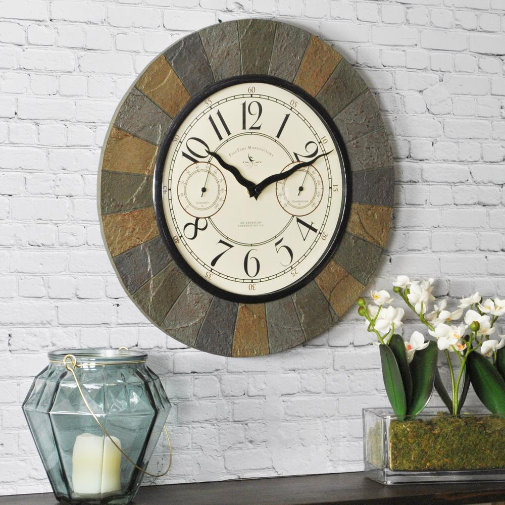 FirsTime 15.5 in. Slate Garden Indoor/Outdoor Clock-99054 - The ...