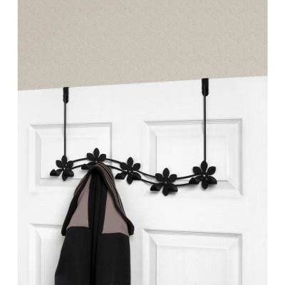 Black Flower 21-1/4 in. L Decorative 5-Hook Over the Door Rack