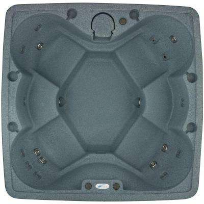 AR-600 6-Person Spa with 19 Jets in Stainless Steel and Easy Plug-N-Play and LED Waterfall in Graystone