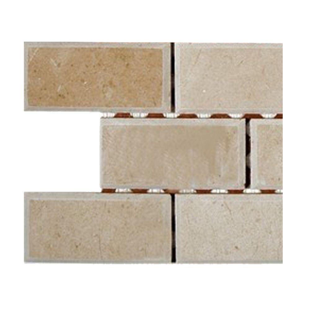 Splashback Tile Crema Marfil 2 in. x 4 in. Chamfered Marble Mosaic ...