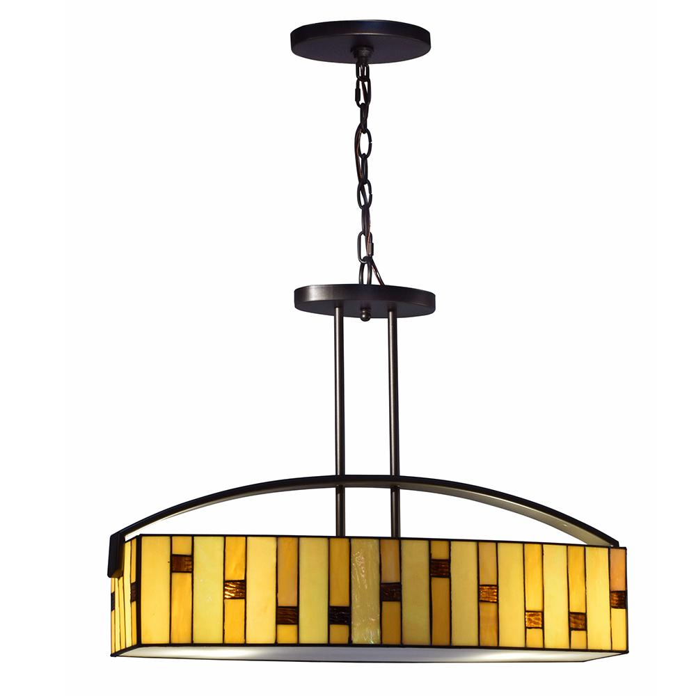 Mojave 2-Light Tiffany Bronze Hanging Fixture Chandelier with Glass Shade