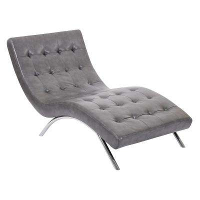 Blake Tufted Chaise in Pewter Faux Leather with Chrome Base