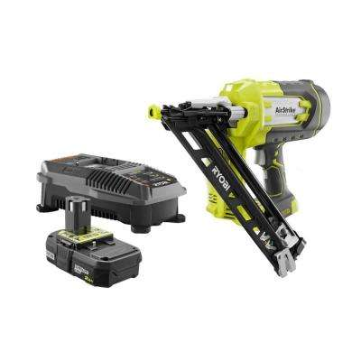 18-Volt ONE+ Lithium-Ion Cordless AirStrike 15-Gauge Angled Nailer Kit with ONE+ Lithium-Ion 2.0 Ah Battery and Charger