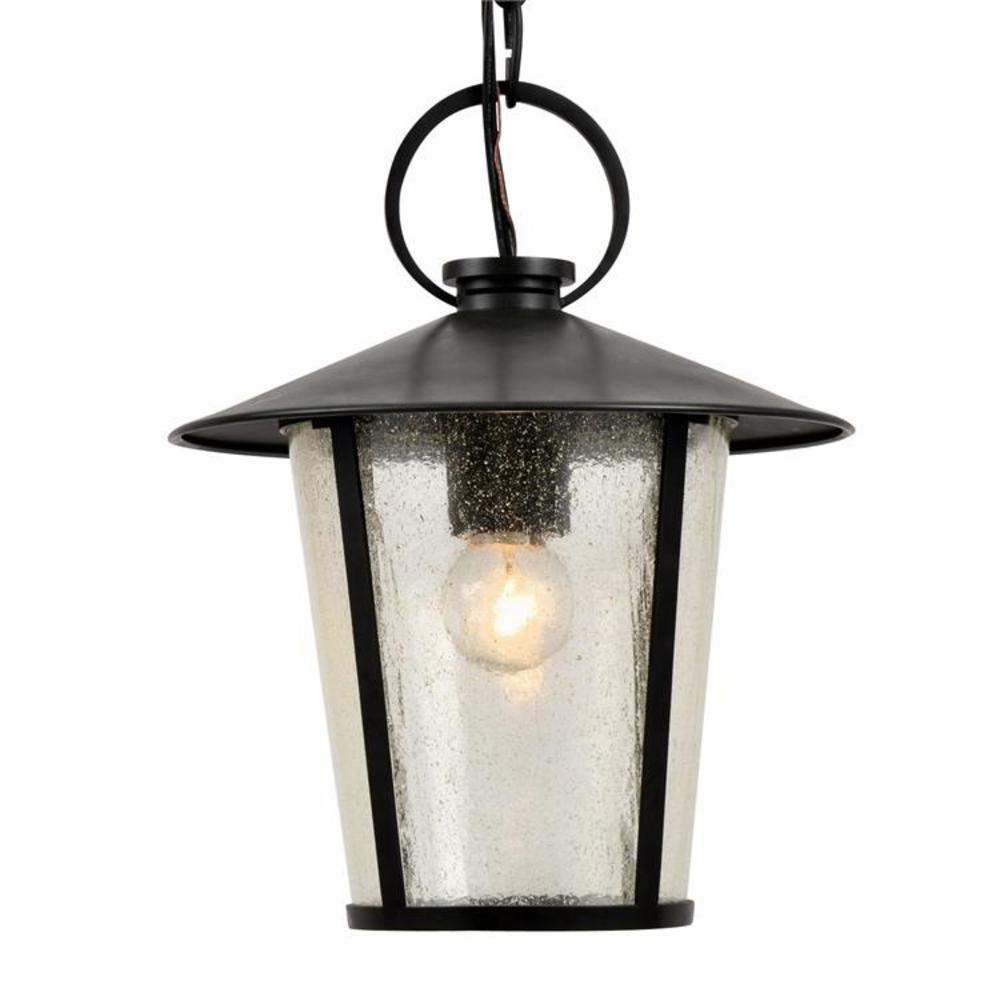 Andover 1-Light Matte Black Lantern Outdoor Chandelier