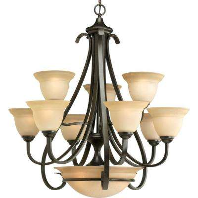 Torino Collection 9-Light Forged Bronze Chandelier with Shade with Tea-Stained Glass Shade