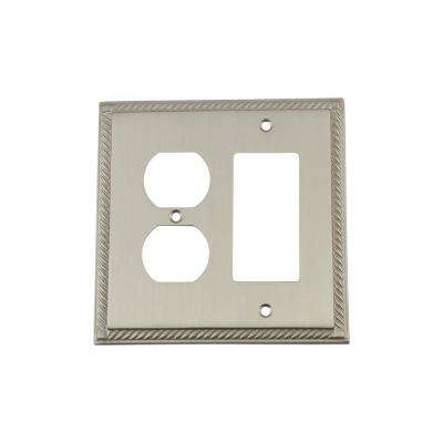 Rope Switch Plate with Rocker and Outlet in Satin Nickel