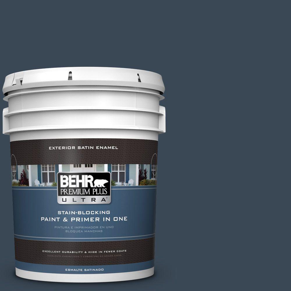 BEHR Premium Plus Ultra 5-gal. #PPF-58 Dark Night Satin Enamel Exterior Paint