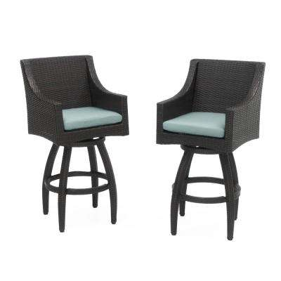 Deco All-Weather Wicker Motion Patio Bar Stool with Spa Blue Cushions (2-Pack)