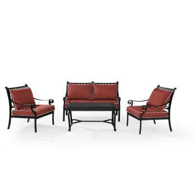 Portofino 4-Piece Cast Aluminum Conversation Set with Sangria Cushions