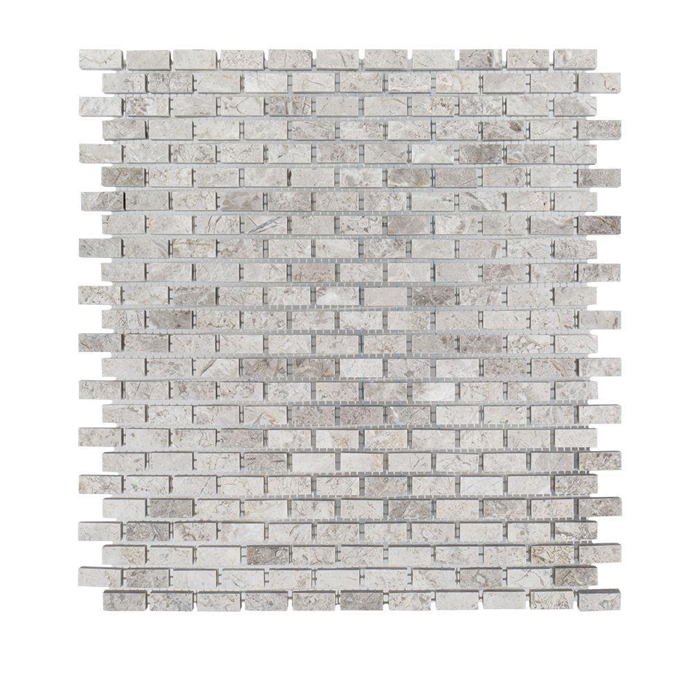Stormy Knight Grey 12 in. x 12 in. x 10 mm Interlocking Glossy Stone Mosaic Tile