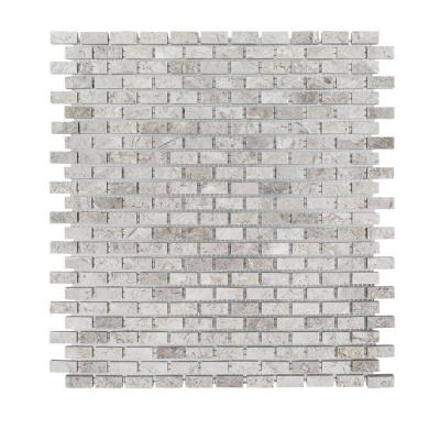 Stormy Knight Grey 12 in. x 12 in. x 10 mm Interlocking Glossy Stone Mosaic Tile