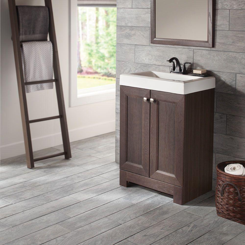 Bath Vanity In Gray Oak