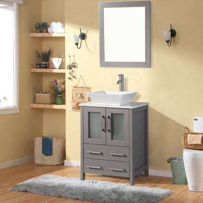 Ravenna 24 in. W x 18.5 in. D x 36 in. H Bathroom Vanity in Grey with Single Basin Top in White Ceramic and Mirror