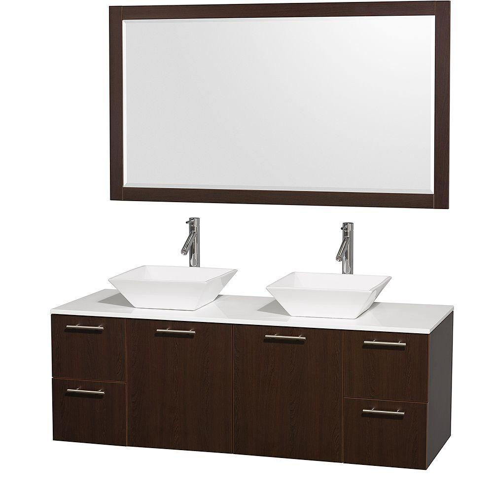 Wyndham Collection Amare 60 in. Double Vanity in Espresso with Man-Made Stone Top in White with White Basin and 58 in. Mirror