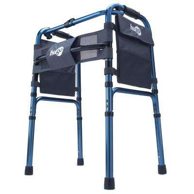 Adjustable Folding Walker With 5 in. Wheels and Plastic Glides, Sapphire Blue