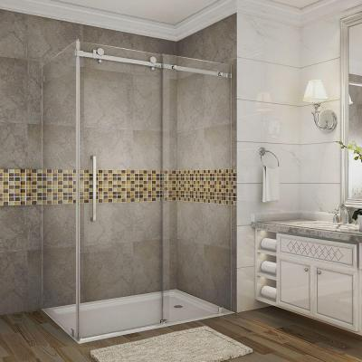 Moselle 48 in. x 33.4375 in. x 75 in. Completely Frameless Sliding Shower Enclosure in Chrome with Clear Glass