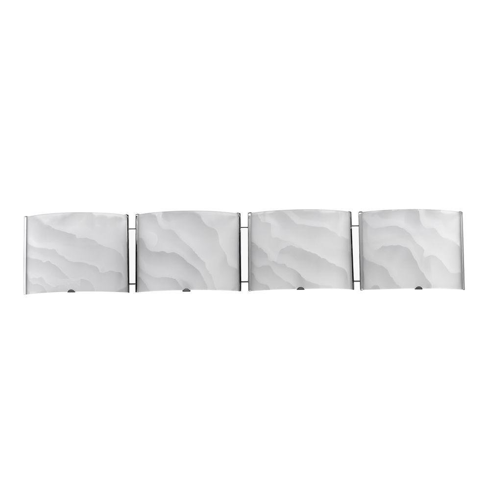 Chloe Lighting Ampere Transitional 4-Light White Wall Bath Vanity Fixture with Brushed Nickel Frosted Alabaster Glass Shade