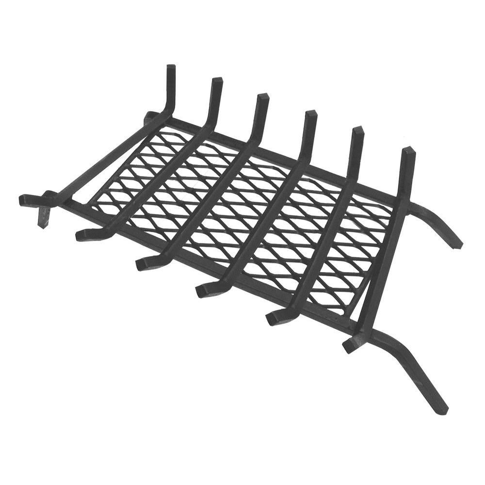 LANDMANN - 30 in. Fireplace Grate with Ember Retainer - Lift your firewood up and allow airflow to keep flames burning hotter and longer. Holds embers to increase heat produced by wood-burning fireplaces. - THD SKU# 602642