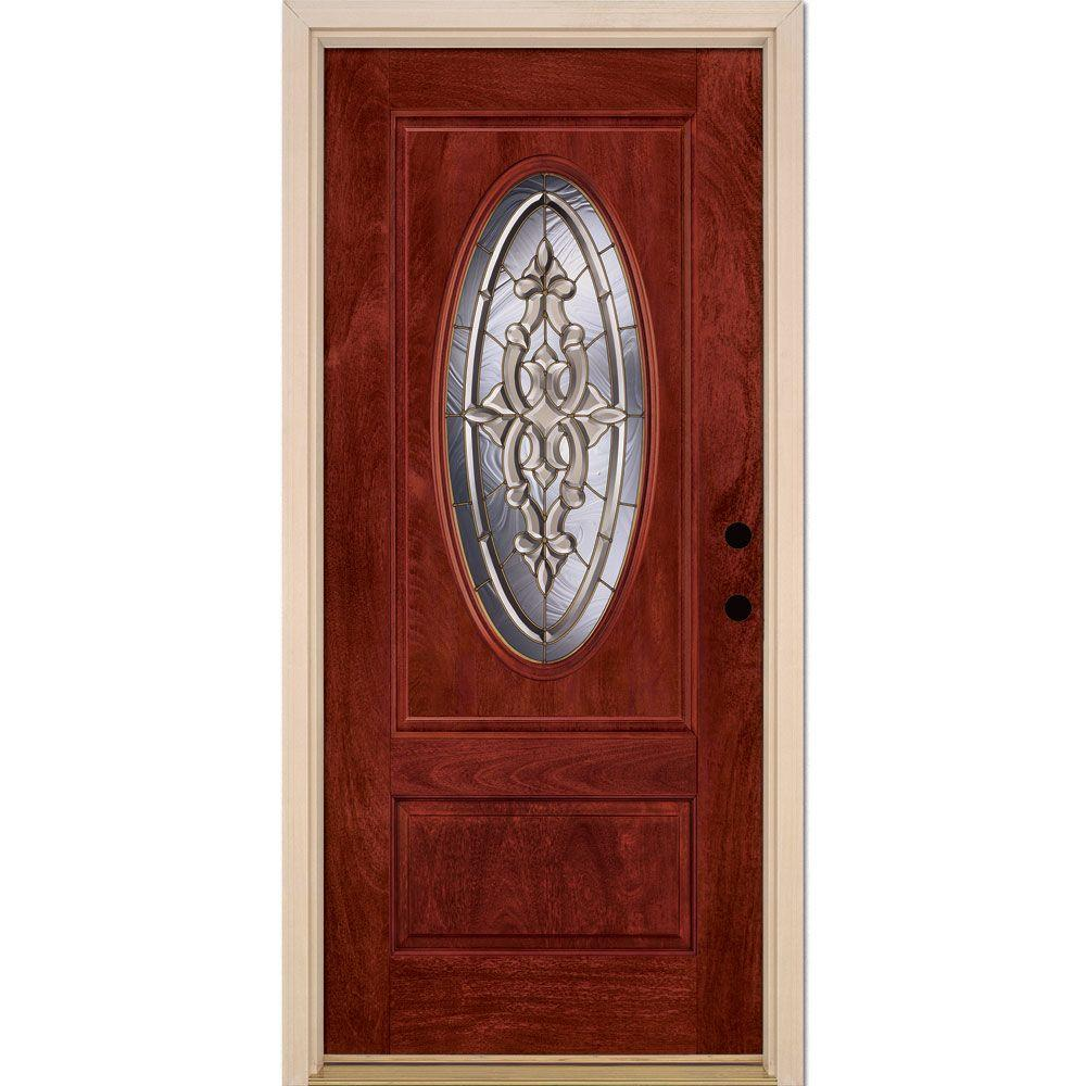Feather River Doors 37.5 in. x 81.625 in. Silverdale Brass 3/4 Oval Lite Stained Cherry Mahogany Left-Hand Fiberglass Prehung Front Door