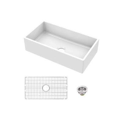 Fireclay 33 in. Single Bowl Apron-Front Farmhouse Kitchen Sink with Grid and Drain Assembly