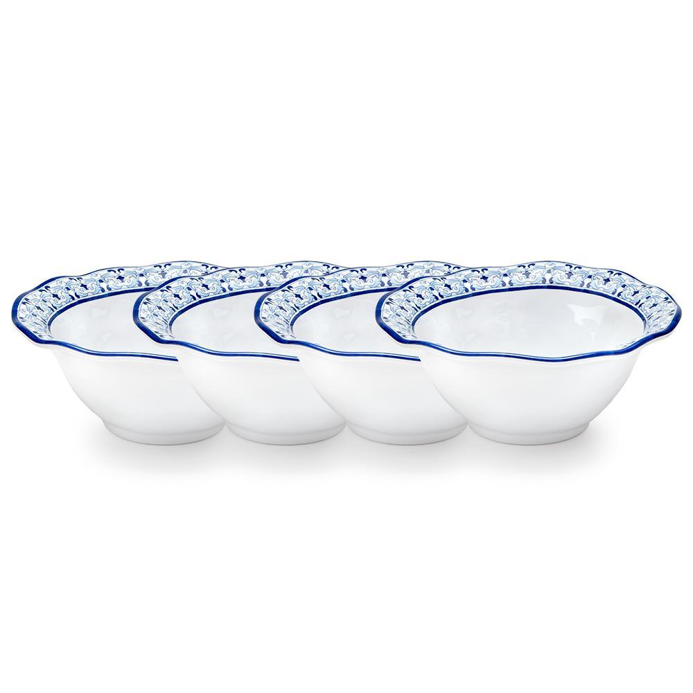 Talavera 4-Piece Blue Melamine Cereal Bowl Set