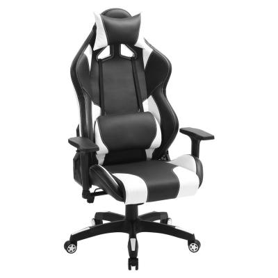 Black and White Leather with Headrest and Lumbar Support Ergonomic Swivel Computer Racing Gaming Chair
