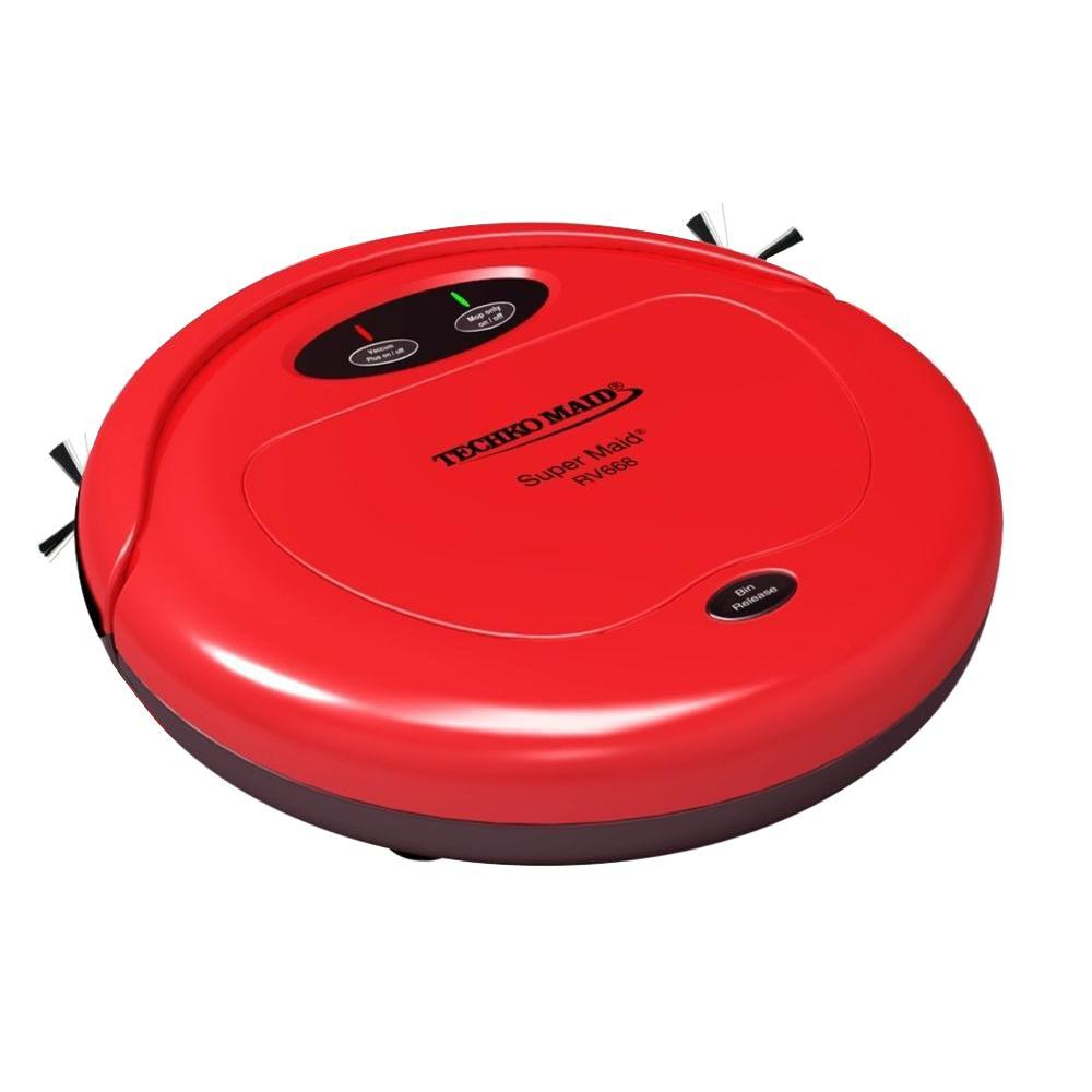Techko Maid Super Maid Robotic Vacuum with High Speed Sweeper and Mop Machine in Red