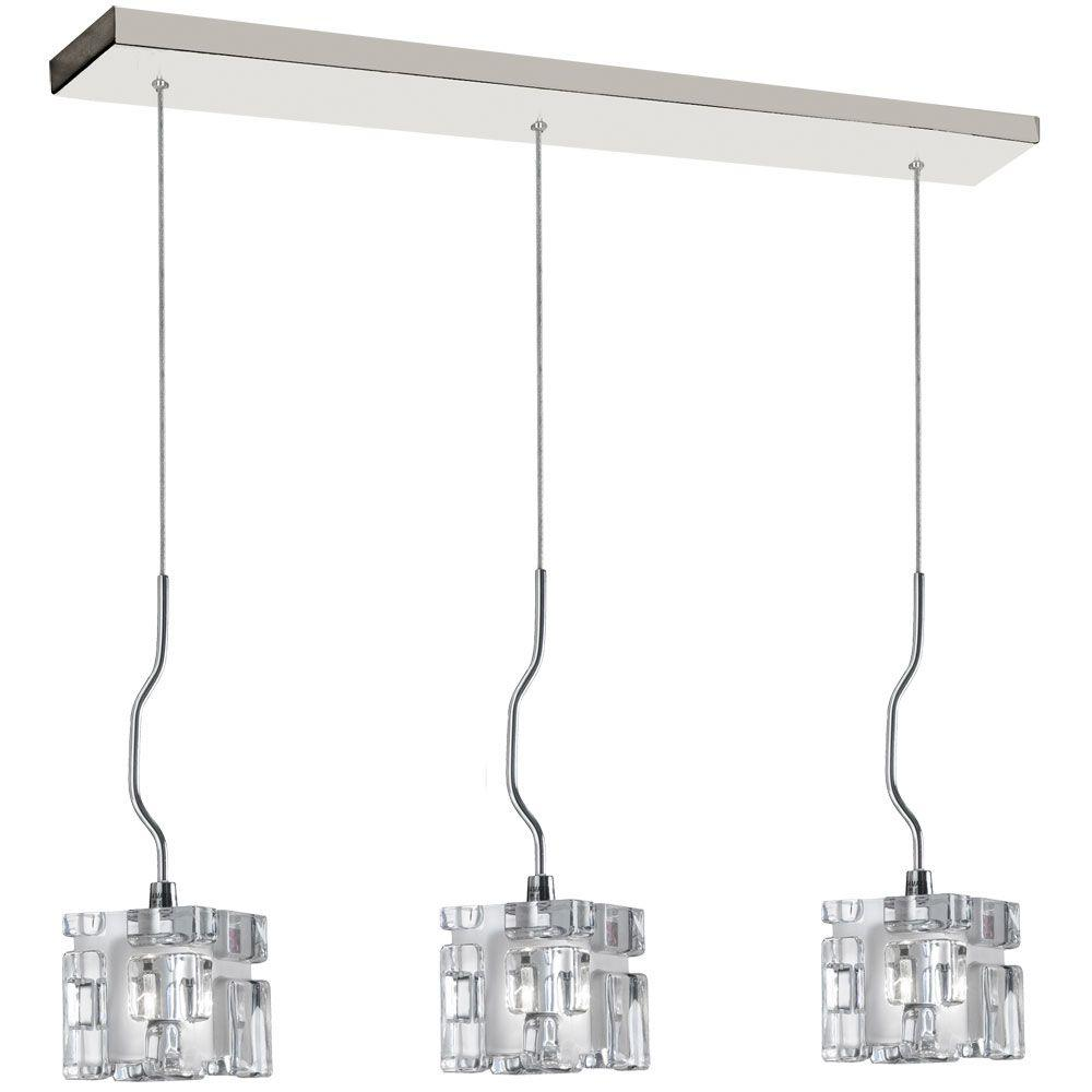 Radionic Hi Tech Nella 3-Light Polished Chrome Horizontal Pendant with Clear Frosted Glass