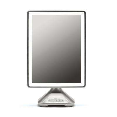 Reflect Pro 10.24 in. x 16.35 in. Freestanding Vanity Mirror, Mirror Size 10 in. x 13 in. w/Bluetooth, Silver Nickel