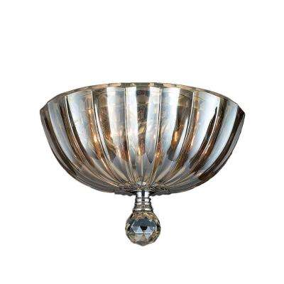 Mansfield Collection 3-Light Chrome Flushmount with Golden Teak Crystal