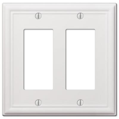 Ascher 2 Gang Rocker Steel Wall Plate - White